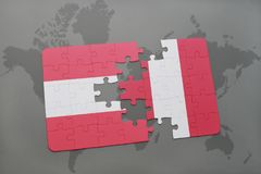 Puzzle with the national flag of austria and peru on a world map background. 3D illustration royalty free stock photos