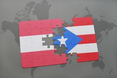 Puzzle with the national flag of austria and puerto rico on a world map background. Stock Photography