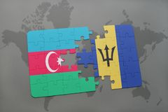 puzzle with the national flag of azerbaijan and barbados on a world map Stock Photography