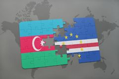 puzzle with the national flag of azerbaijan and cape verde on a world map Royalty Free Stock Photo