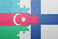 Puzzle with the national flag of azerbaijan and finland Royalty Free Stock Photography
