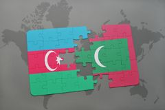 Puzzle with the national flag of azerbaijan and maldives on a world map. Background. 3D illustration Royalty Free Stock Photography
