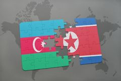 Puzzle with the national flag of azerbaijan and north korea on a world map. Background. 3D illustration royalty free stock image