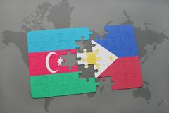 puzzle with the national flag of azerbaijan and philippines on a world map Royalty Free Stock Photos