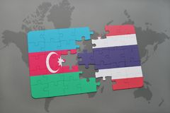 Puzzle with the national flag of azerbaijan and thailand on a world map. Background. 3D illustration royalty free stock image