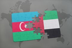 Puzzle with the national flag of azerbaijan and united arab emirates on a world map. Background. 3D illustration Royalty Free Stock Images
