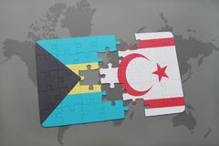 Puzzle with the national flag of bahamas and northern cyprus on a world map. Background. 3D illustration Stock Image