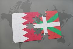 Puzzle with the national flag of bahrain and basque country on a world map background. 3D illustration Stock Photos