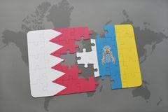 Puzzle with the national flag of bahrain and canary islands on a world map background. 3D illustration Stock Photos