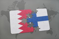 Puzzle with the national flag of bahrain and finland on a world map background. 3D illustration Royalty Free Stock Photography