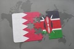 Puzzle with the national flag of bahrain and kenya on a world map background. 3D illustration royalty free stock image
