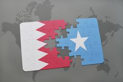 Puzzle with the national flag of bahrain and somalia on a world map background. 3D illustration stock photography