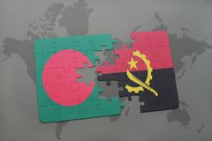 Puzzle with the national flag of bangladesh and angola on a world map Stock Images