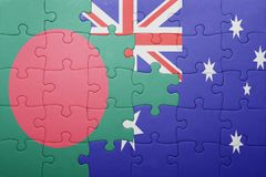 Puzzle with the national flag of bangladesh and australia Stock Photography