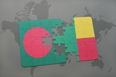 Puzzle with the national flag of bangladesh and benin on a world map Stock Photos