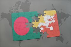 Puzzle with the national flag of bangladesh and bhutan on a world map background. Stock Photo