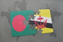 Puzzle with the national flag of bangladesh and brunei on a world map background. Royalty Free Stock Images
