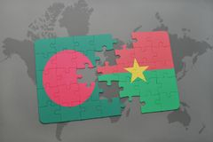 Puzzle with the national flag of bangladesh and burkina faso on a world map Stock Images