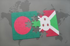 Puzzle with the national flag of bangladesh and burundi on a world map Royalty Free Stock Image