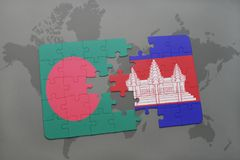 Puzzle with the national flag of bangladesh and cambodia on a world map background. Stock Image