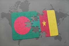 Puzzle with the national flag of bangladesh and cameroon on a world map Stock Image