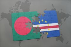 Puzzle with the national flag of bangladesh and cape verde on a world map Royalty Free Stock Image