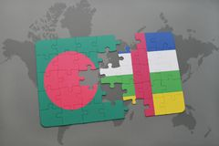 Puzzle with the national flag of bangladesh and central african republic on a world map Royalty Free Stock Image