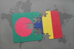 Puzzle with the national flag of bangladesh and chad on a world map Stock Photography