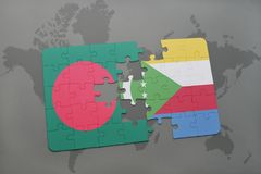 Puzzle with the national flag of bangladesh and comoros on a world map Royalty Free Stock Photo