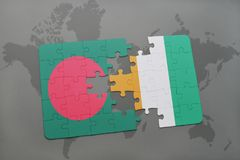 Puzzle with the national flag of bangladesh and cote divoire on a world map Stock Images