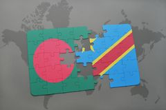 Puzzle with the national flag of bangladesh and democratic republic of the congo on a world map Royalty Free Stock Photos