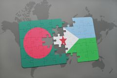 Puzzle with the national flag of bangladesh and djibouti on a world map Royalty Free Stock Photos
