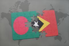 Puzzle with the national flag of bangladesh and east timor on a world map background. Stock Photo