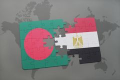 Puzzle with the national flag of bangladesh and egypt on a world map Royalty Free Stock Images