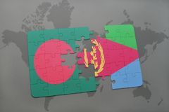 Puzzle with the national flag of bangladesh and eritrea on a world map Stock Images