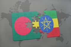 Puzzle with the national flag of bangladesh and ethiopia on a world map Stock Photo