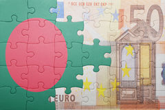 Puzzle with the national flag of bangladesh and euro banknote Stock Images