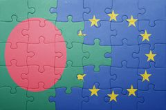 Puzzle with the national flag of bangladesh and european union Stock Photo