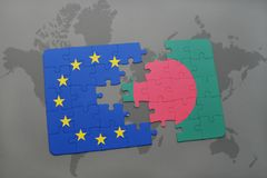 Puzzle with the national flag of bangladesh and european union on a world map Stock Photos