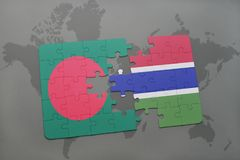 Puzzle with the national flag of bangladesh and gambia on a world map Stock Photos