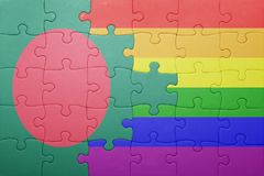 Puzzle with the national flag of bangladesh and gay flag Royalty Free Stock Photography