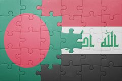 Puzzle with the national flag of bangladesh and iraq Royalty Free Stock Photography
