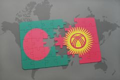Puzzle with the national flag of bangladesh and kyrgyzstan on a world map background. Royalty Free Stock Photography