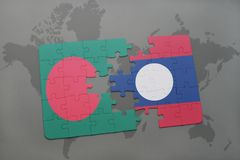 Puzzle with the national flag of bangladesh and laos on a world map background. Royalty Free Stock Image
