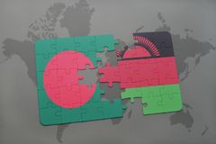 Puzzle with the national flag of bangladesh and malawi on a world map Royalty Free Stock Image