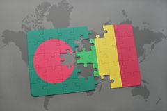 Puzzle with the national flag of bangladesh and mali on a world map Stock Photography