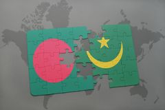 Puzzle with the national flag of bangladesh and mauritania on a world map Royalty Free Stock Images