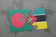 Puzzle with the national flag of bangladesh and mozambique on a world map Stock Photo