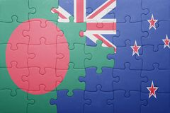 Puzzle with the national flag of bangladesh and new zealand Royalty Free Stock Image