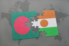 Puzzle with the national flag of bangladesh and niger on a world map Royalty Free Stock Photo